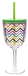 Bright Zig Zag Acrylic 13oz Double-wall Wine Glass W/straw