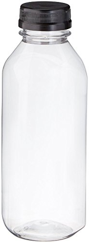 (8) 16 oz. Clear Food Grade Plastic Juice Bottles with Tamper Evident Caps 8/pack (Clear Caps compare prices)