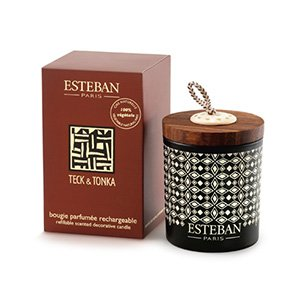 Esteban Teck & Tonka Scented Decorative Candle Refillable 5.3 oz