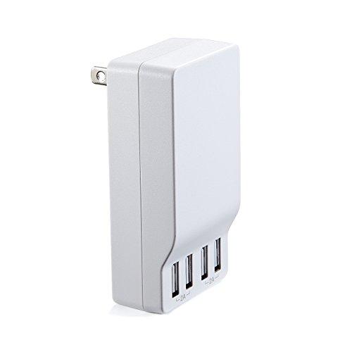 サンワダイレクト USB充電器 急速充電 4ポート 2A出力 全ポート合計4A出力 コンパクト 【Smart USB System搭載】 プラグ収納式 ホワイト 700-AC014W