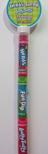 Nerds Fun Dip Laffy Taffy 3 Pack Flavored Lip Balms Gift Set in Cane