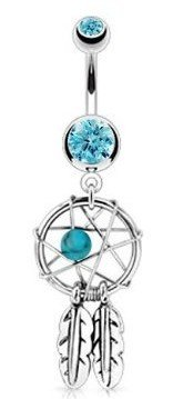 Dreamcatcher & Feathers Dangle Belly Bar - Aqua Blue - Pierced & Modified Body Jewellery - Navel Rings