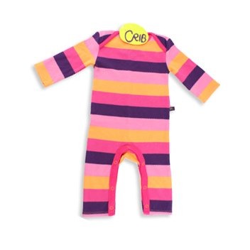 Crib Baby Girls Rainbow Striped Playsuit