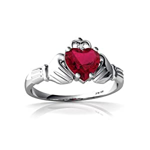 Created Ruby 14ct White Gold Celtic Claddagh Ring - Size P