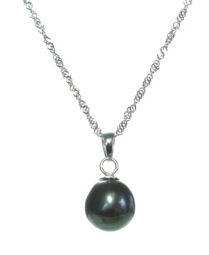 Elegant 925 Sterling Silver high-luster 9.0-11.0mm Black With Greenish Overtone Pearl Women Necklace - 17.3 inch