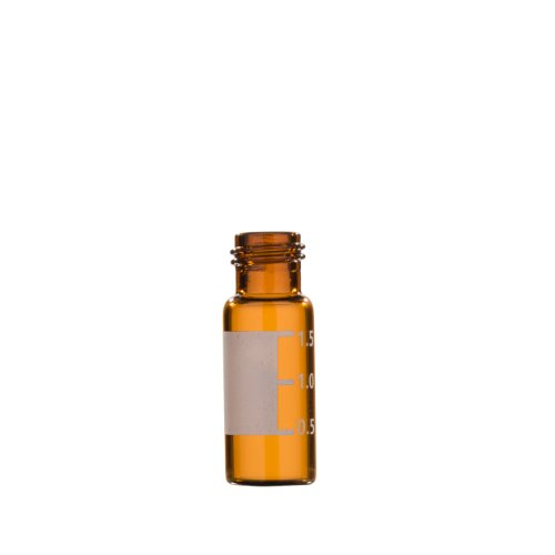 Greenwood Products 01-02Asg100 Amber Glass 2Ml Flat Bottom Vial, With Marking Spot, 0.5Ml Graduations, And Screw Threads (Pack Of 100)