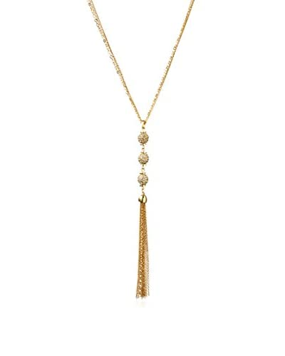 Cohesive Jewels Pave Triple Ball Tassel Necklace