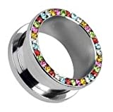 Multi Coloured Austrian Crystal Gem Paved Hollow Saddle Plug - Size: 0 Gauge (8mm) - Screw Fit - Silver 316L Surgical Stainless Steel - Supplied in Gift Pouch