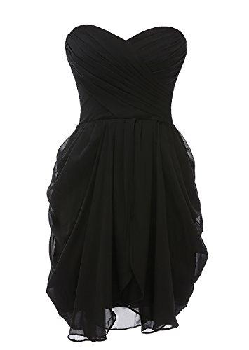 Kiss Dress Short Strapless Prom Dress Soft Chiffon Evening Dress L Black