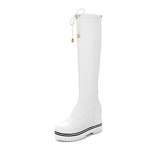 Guoar High Heels Round Toe Damenstiefel Rutsch Plateau Winter Langschaft Stiefel Weiß EU39.5