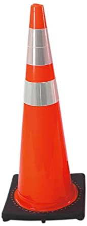 "Cortina 03-500-06LI PVC Traffic Cone with Black Base and 6""/4"" Reflective Collar, 36"" Height, Fluorescent Green"
