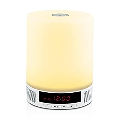 Bedside Lamp with Bluetooth Speaker, Touch Control Dimmable Romatic light, Bluetooth 4.0 Speaker, Alarm Clock, Dynamic Color Changing Mode, Hands-Free Calls, Over 8 Hours Of Continuous Use