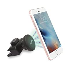 Car Mount TechMatte MagGrip Mini CD Magnetic Car Mount Holder for Smartphones including iPhone 6, 6S, Galaxy S7, S7 Edge, S6, S6 Edge, LGG5 - Black