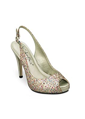 Wedding & Bridesmaid Shoes Sparkling Glitter Platform Sling Gold / Multi, 5