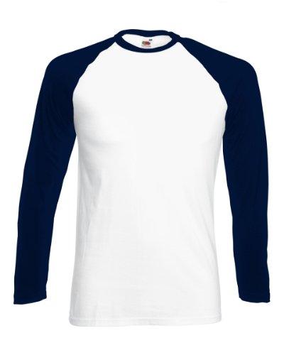 FOTL-Maglietta a maniche lunghe da Baseball, colore: bianco, taglia: L, colore: blu Navy scuro