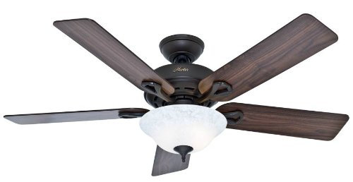 Hunter 53048 Kensington 52-inch New Bronze Ceiling Fan with Five Walnut/Cherry Blades with Light Kit (52 Inch Hunter Ceiling Fans compare prices)