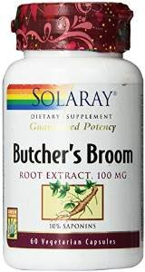 Solaray Butchers Broom Extract, 100mg, 60 Count (3 Pack)