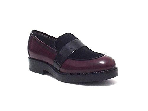 Janet & Janet scarpe donna, 36103, mocassino in pelle e cavallino, colore bordò nero