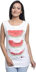 Addyvero Casual Sleeveless Printed Women's White, Red Top