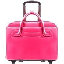 McKlein WILLOWBROOK Fuchsia Detachable-Wheeled Ladies' Briefcase (94983)