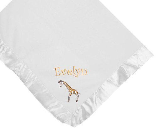 Giraffe White Soft Fleece Embroidered Personalized Baby Blanket - Custom Embroidery Hot Pink Thread front-988343