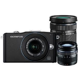 Olympus E-PM1 (with 14-42 & 40-150 IS Kit) DSLR Camera with 12MP and 3 inch Screen (Black)