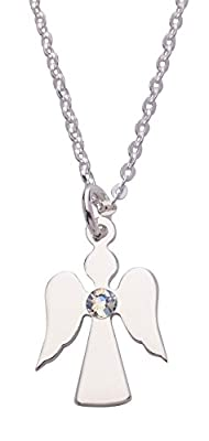 Charm Angel Birthstone Sterling Silver Pendant on 46cm Chain