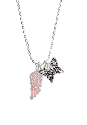 "Medium Pink Enamel Angel Wing - Butterfly Sophia Necklace, 18""+1"""
