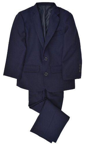 G218 Boys 2 Piece Suit Set Toddler To Teen (2/2T, Navy Blue) front-570221