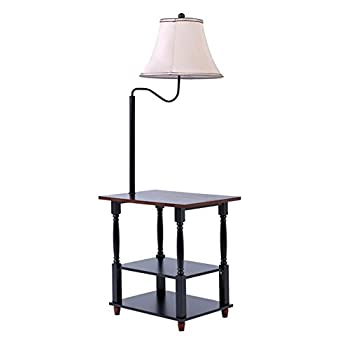 Madison Floor Lamp with End Table Swing Arm White Shade with Built-in Two-Tier Black Table with Open Display Space - Combination Tray lamp with Swing Arm White Shade