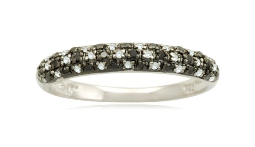 Sterling Silver Black and White Diamond Band (1/5 cttw, I-J Color, I2-I3 Clarity), Size 6
