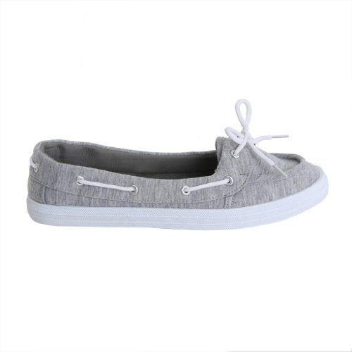 Twisted Women's Champion Canvas Athletic Boat Shoe - Heather Grey, Size 6