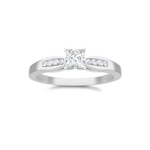 0.6 CaratPrincess cutDiamondInexpensive Diamond Engagement Ring On10K WhiteGold