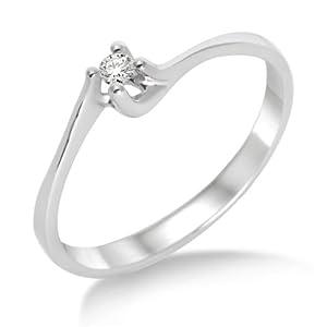 Miore - M9004RM52 - Bague Solitaire Femme - Or blanc 375/1000 (9 carats) 1.46 gr - Diamant 0.04 cts - T 52