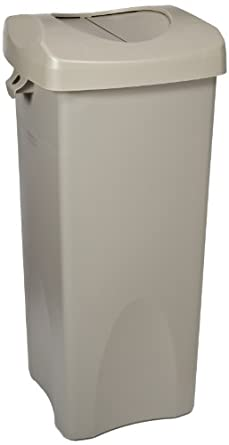 Rubbermaid Commercial FG792020BEIG 23-Gallon Untouchable Trash Can with Swing Lid Combo, Rectangular, Beige