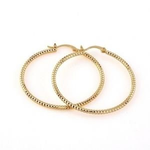 22K Dazzling Yellow Gold Plated Ladies Hoop Earrings 45mm