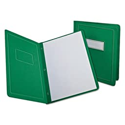 Report Cover, 3 Fasteners, Panel and Border Cover, Letter, Green, 25 per box, Sold as 25 Each