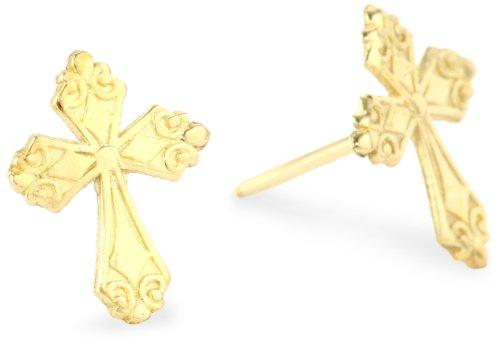 Jewelry Of Faith Girl's 14k Gold Cross Stud Earrings