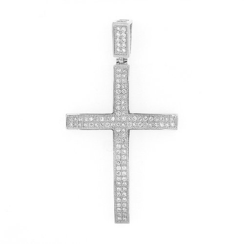 Men's Iced Out Hip Hop White Gold Plated Cubic Zircoina (CZ) Lab Micro Pave Latin Cross Religious Charm Pendant