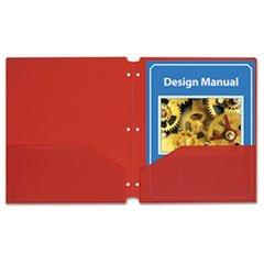 ** Two-Pocket Heavyweight Poly Portfolio Folder w/3-Hole Punch, Letter, Red, 25/Box