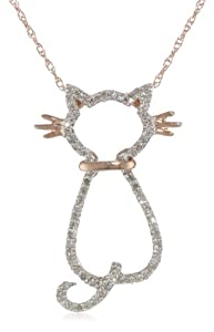 XPY 14k Rose Gold Diamond Cat Pendant (1/5 cttw)
