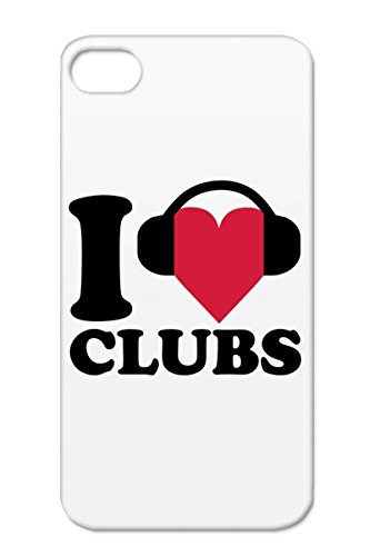 Red Music Dj Headphones Party Dance Dance Electronica Music Djane Club Love Disco I Heart Protective Hard Case For Iphone 4/4S Clubs Tpu Shock-Absorbent