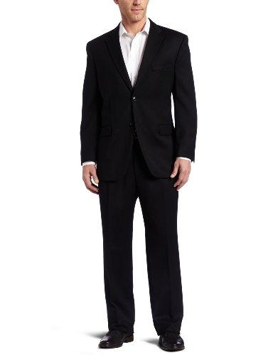 Jones New York Men's Rubin 2 Button Side Vent Suit with Single Pleated Pant, Black, 44 Long (Jones New York Mens Pants compare prices)