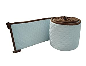 American Baby Company Minky Dot Cradle Bumper with Chocolate Trim, Blue