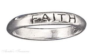 Sterling Silver Faith Ring Size 10