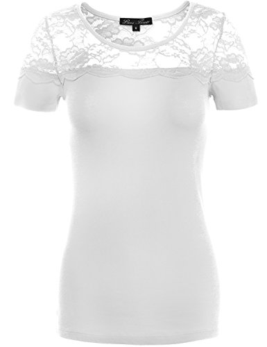 Fashionable Fitted Floral Lace Cotton Knit Shirts