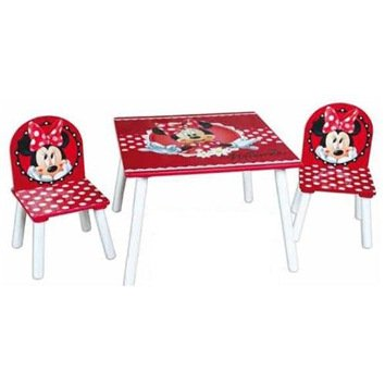 Disney Minnie Mouse Kidâ?TMs Table and Two Chairs Kids Bedroom Playroom Furniture Set