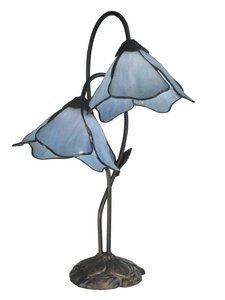 Dale Tiffany TT12147 Poelking 2-Light Blue Lily Table Lamp, Dark Antique Bronze by Dale Tiffany Lamps
