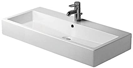 Duravit 0454100241 Vero 39-3/8-Inch Two-Hole Wash Basin, White Finish