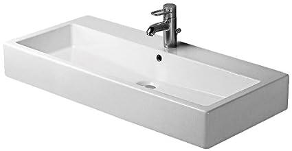 Duravit 0454100241 Vero 39-3/8-Inch Two-Hole Wash Basin, White Finish
